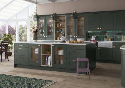 hampton green painted shaker kitchen