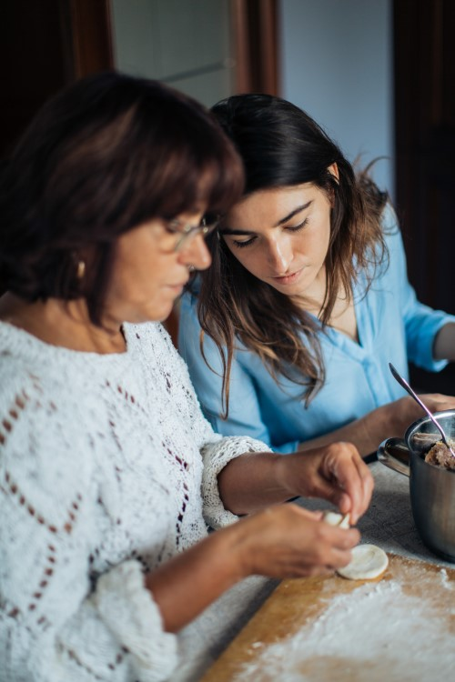 two women baking together